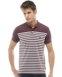French Connection - 3/4 Stripe Polo Chateaux Melange/white - Lyst