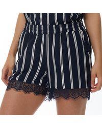 ONLY - Aida Lace Hem Shorts Blue Indigo/aida Stripe - Lyst