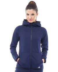 New Balance - Accelerate Tech Poly Fleece Full Zip Hoody Pigment Navy - Lyst