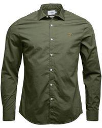 Farah - Thornlea Long Sleeve Slim Fit Shirt Military Green - Lyst