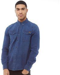 6a10a9b8ef2 Superdry - Dragway Denim Long Sleeve Shirt Indigo Micro Stitch - Lyst