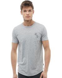 French Connection - Script Logo T-shirt Light Grey Melange/marine - Lyst