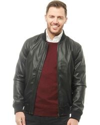 French Connection - Baseball Faux Leather Jacket Black - Lyst