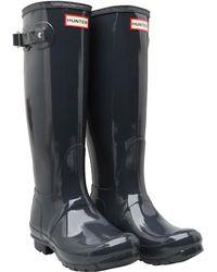 HUNTER - Original Tall Gloss Wellington Boots Dark Slate - Lyst