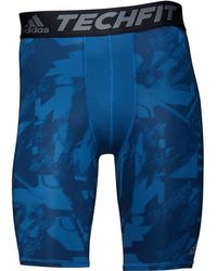 adidas - Techfit Base Graphic Compression Tight Shorts Print/core Blue - Lyst