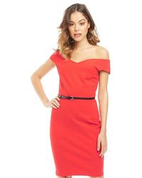 Ted Baker - Brynia Off Shoulder Bodycon Dress Brick Red - Lyst