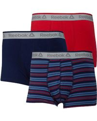 Reebok - Tyson Three Pack Short Trunks Blue Slate Stripe/navy/primal Red - Lyst