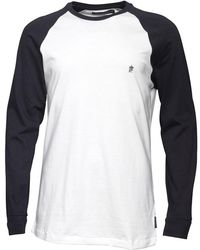 French Connection - Long Sleeve Raglan T-shirt White/marine - Lyst