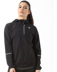 New Balance - Lightweight Water Resistant Hooded Running Jacket Black - Lyst