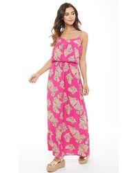 ONLY - Nova Flower Print Maxi Dress Fuchsia Purple/open Flower - Lyst