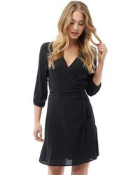 ONLY - Aida Lace V-neck 3/4 Length Sleeve Dress Black - Lyst