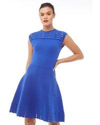 Ted Baker - Zaralie Jacquard Panel Skater Dress Blue - Lyst 126eb12d0