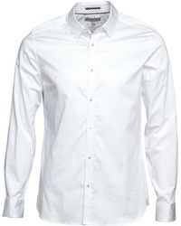 Ted Baker - Myplan Long Sleeve Plain Satin Stretch Shirt White - Lyst