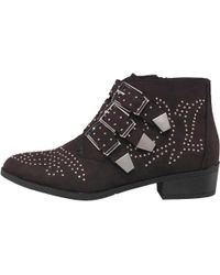 Truffle Collection - Suede Studded Triple Buckle Ankle Boots Black - Lyst