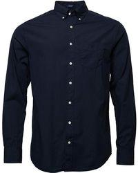 GANT - Solid Broadcloth Reg Fit Shirt Thunder Blue - Lyst