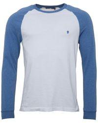 French Connection - Long Sleeve Raglan T-shirt White/blue Melange - Lyst