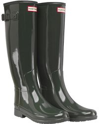 HUNTER - Original Refined Gloss Wellington Boots Dark Olive - Lyst