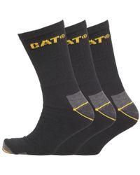 Caterpillar - Workwear Three Pack Crew Socks Black - Lyst