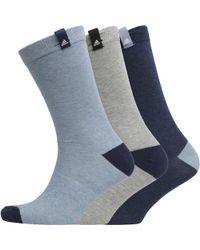 adidas - Performance Three Pack Crew Socks Mystery Blue/medium Grey Heather/blue - Lyst