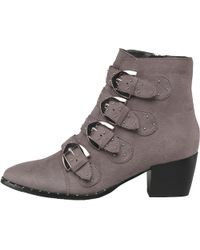 Truffle Collection - Suede Multi Buckle Block Heel Boots Charcoal Suede - Lyst