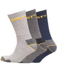 Caterpillar - Workwear Three Pack Crew Socks Navy/light Grey/charcoal Marl - Lyst