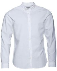 Jack & Jones - Premium Summer Long Sleeve Button Down Shirt White - Lyst