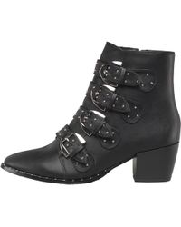 Truffle Collection - Pu Multi Buckle Block Heel Boots Black - Lyst