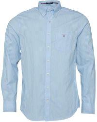 GANT - Broadcloth Pinstripe Reg Fit Shirt Blue - Lyst