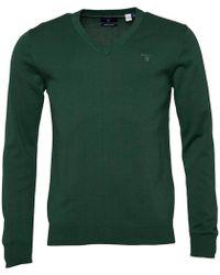 GANT - Lightweight Cotton V-neck Jumper Green - Lyst