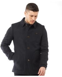 46f8b7fe85588d Ted Baker - Osmond Patch Pocket Collared Overcoat Navy - Lyst