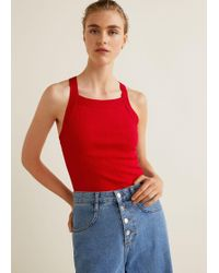 Mango - Ribbed Top - Lyst