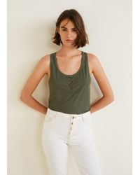 Mango - Ribbed Knit Top - Lyst