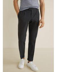 Mango - Seersucker Textured Trousers - Lyst
