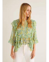 dfa1ae32e0 Lyst - Mango Floral Print Blouse in Green