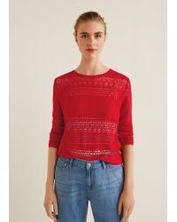 Mango - Openwork Knit Sweater - Lyst