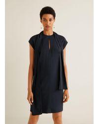 Mango - Bow Neck Dress - Lyst