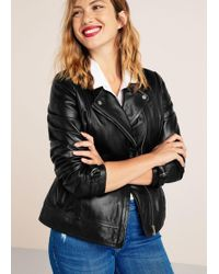 Violeta by Mango - Leather Biker Jacket - Lyst
