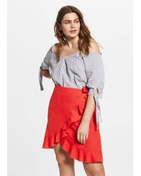 Violeta by Mango - Ruffled Linen-blend Skirt - Lyst