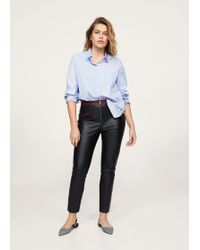 Violeta by Mango - Faux-leather Trousers - Lyst