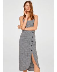 Mango - Buttoned Check Dress - Lyst