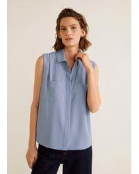 Mango - Sleeveless Shirt - Lyst