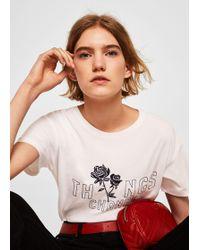 Mango - Embroidered Cotton Shirt - Lyst