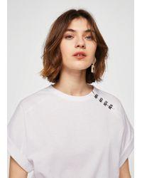 Mango - Bead Detail T-shirt - Lyst