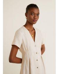 Mango - Pleats Detail Linen-blend Dress - Lyst 246fabf83
