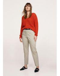 Violeta by Mango - Belt Cotton-blend Trousers - Lyst