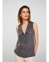 Mango - Buttoned Soft Fabric Blouse - Lyst