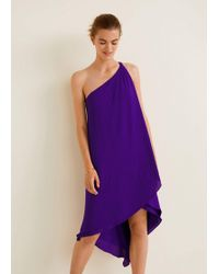 Mango - Asymmetric Neckline Dress - Lyst