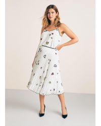 Violeta by Mango - Printed Pleated Skirt - Lyst