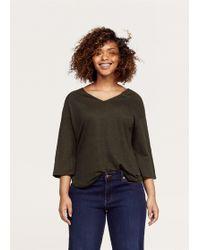 Violeta by Mango - Flecked Linen-blend T-shirt - Lyst