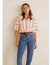 Mango - Printed Oversize Shirt - Lyst